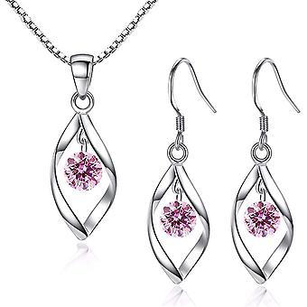 ZoWokexamery Damen Twist Schmuck Set Ohrringe Halskette 925 Sterling Silber Haken Ohrhnger Ohrring