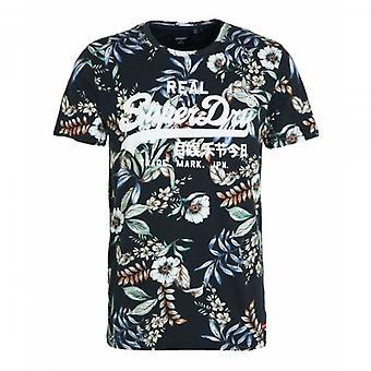 Superdry VL AOP Floral T-Shirt Noir 4HA