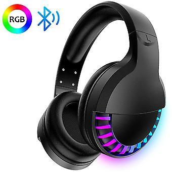 Over-Ear Bluetooth draadloze hoofdtelefoon, 5,1-kanaals hifi-stereo, horse race RGB LED-achtergrondverlichting, 1000 mAh oplaadbare lichtgewicht gamingheadset met microfoon, voor pc / Ipad / smartphone-zwart