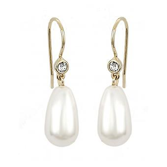 Pendiente de gota de viajero - Perla blanca de 15x8 mm - Chapado en oro de 22ct - 114101 - 689