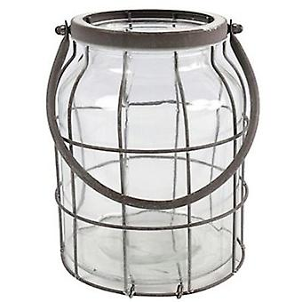 windlicht Deegan L 18 x 21 cm Stahl/Glas grau