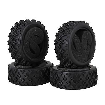 4pcs Black 70x26mm Flower Pattern Rubber Tyre with Sponge for RC1:10 On Road Car