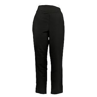 Denim & Co. Women's Pants Active French Terry V-Yoke Pull-On Black A391932