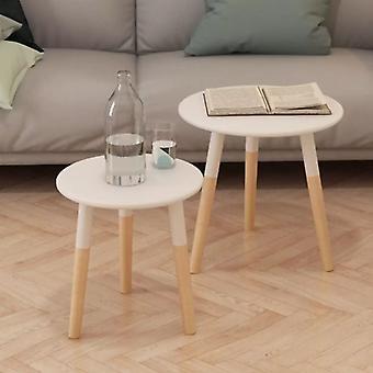 vidaXL Side Table Set 2 Pcs Pine Wood Solid White
