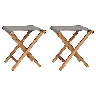 vidaXL folding chairs 2 pcs. teak solid wood and fabric dark grey