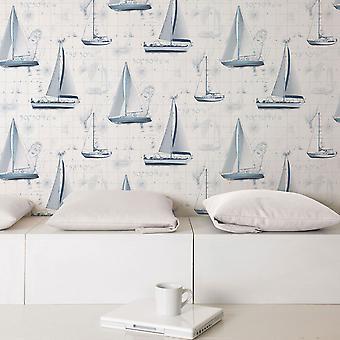 Global Fusion Sail Away Wallpaper Blue G56420