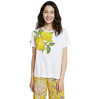 Desigual TS_Lemons تي شيرت، أبيض، M امرأة