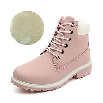 varme plysj kvinner firkantede hæler vinter fløyel rosa snø støvler