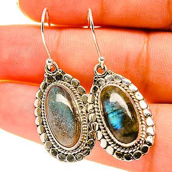 """Labradorite Earrings 1 1/2"""" (925 Sterling Silver)  - Handmade Boho Vintage Jewelry EARR417186"""
