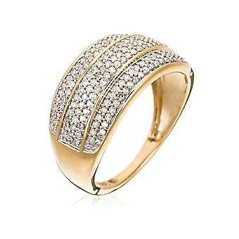 Ring 'Bright 3 rader' Gult guld och Diamanter