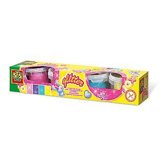 SES Creative - Kinder Glitter Clay Play Dough Set 4 Kleuren Potten 2 tot 12 Jaar (Multi-colour)