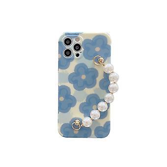 Pulsera de perla de flor azul para funda de teléfono móvil
