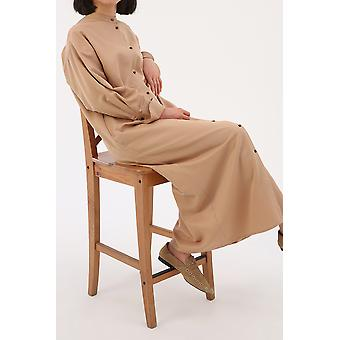 Bishop Sleeve Rolled Cuff Button Front Oversize Dress