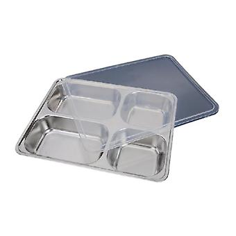 Deepen Thick Stainless Steel Plate With 4 Compartments And Plastic Lid