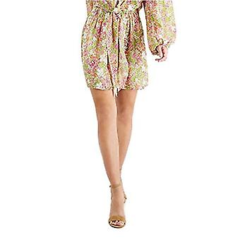 Leyden Womens Embroidered Ditsy Floral Smocked Mini Skirt Citron