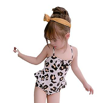 Girl's swimsuit student with bow skirt