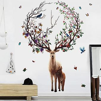 Forest Deer Wall Stickers Decals (size:135cm X 95cm)