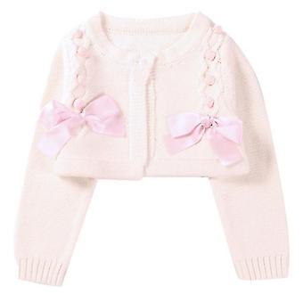 Kleinkind Mädchen Frühling Herbst kurze Oberbekleidung gestrickte Strickjacke für Geburtstag 130cm rosa
