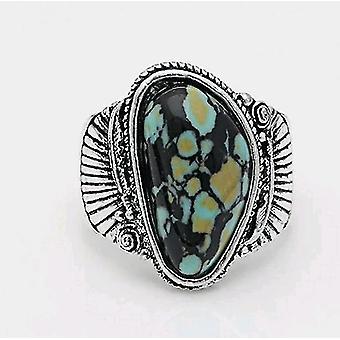 Nieuwe mode synthetische turquoise veer ring(9)