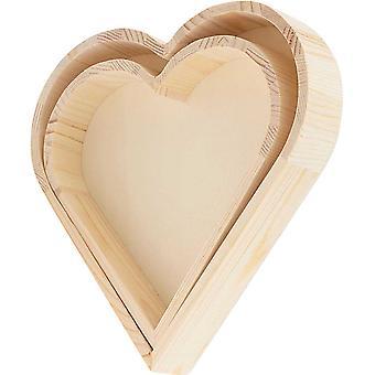 21cm & 17,5cm Chunky Heart Shape Holztabletts zum Dekorieren
