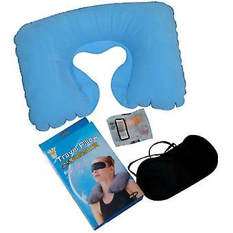 Oreiller gonflable de voyage 3pcs, masque pour les yeux et bouchons d'oreilles, oreiller en forme de U de pause déjeuner (bleu clair)