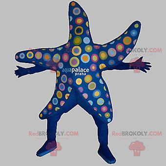 Mascote REDBROKOLY.COM estrela-do-mar azul com círculos coloridos
