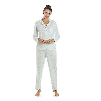 Camille Femme Classic Jersey Manches Longues Menthe Vert Pyjama Set