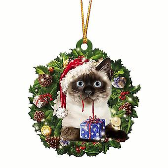 Lovely christmas wooden cat animals drop ornaments wood christmas tree diy pendant hanging sign xmas wreath home diy decoration