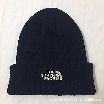 The North Face Beanie Hat Outdoor Unisex Warm Women's Men's Stretch Knitted Hat Beige Navy