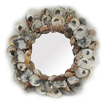 Natural Oyster and Cone Shell Frame Small Round Wall Mirror 9.5 Inch Diameter