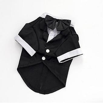 Gentleman Hunde Katze Kostüm Anzug Smoking formelle schwarze Fliege Party Brautkleid Kleidung Jacke