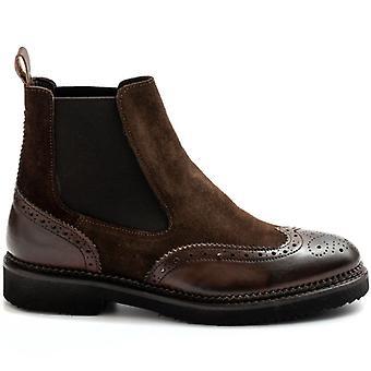 Sangiorgio bruna ankel stövlar i läder och mocka