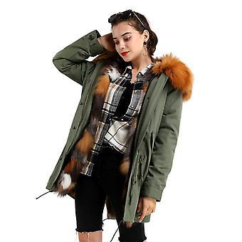 Mimigo Warm Winter Jackets Real Fur Coat Womens Natural Red Fox Fur Parka Green Out Jacket Avec Détachable Fox Fur Liner Cadeau de Noël pour femmes