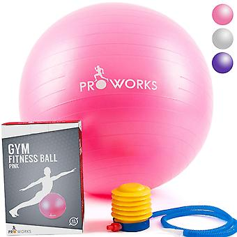 Anti-Burst Exercise Ball 65cm Heavy Duty With Pump In Pink