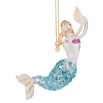 Swimming Mermaid With Seashell Glass Christmas Holiday Ornament