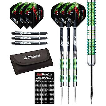 Peter Wright Snakebite Mamba - 24g - 90% Tungsten Steel Darts with Flights, Shafts, Wallet & Red Dragon Checkout Card