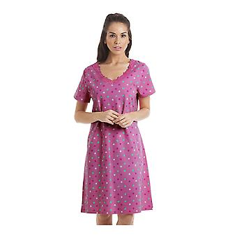 Камиль разноцветные звезды печати Фуксия Розовая ночная рубашка
