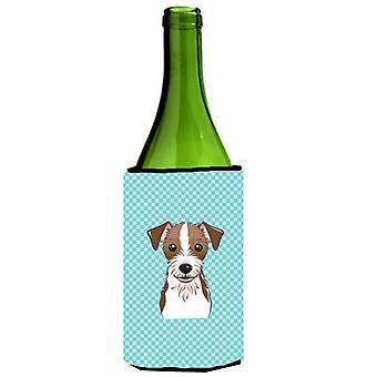رقعة الداما الأزرق جاك راسل الكلب زجاجة النبيذ المشروبات عازل نعالها