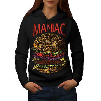 Burger Junk Fast Food Women BlackHoodie | Wellcoda