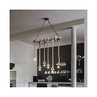Ideal Lux Canapa rústico marinero cuerda isla lámpara colgante, lámpara de 6