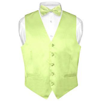 SOIE robe Vest & noeud de cravate noeud papillon ensemble solide Biagio masculine