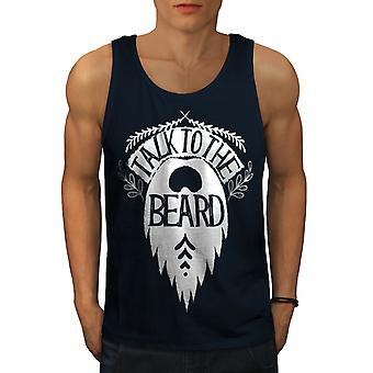 Talk The Beard Vintage Men NavyTank Top | Wellcoda