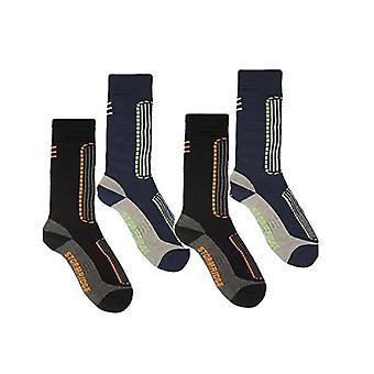 嵐リッジ メンズ 4 パック スキー ソックス英国の 7-11 ブラック ・ ブルー