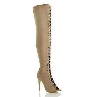 Ajvani Damen high-Heel Stiletto Schnürschuh Reißverschluss Club über die Knie-Overknee-Stiefel