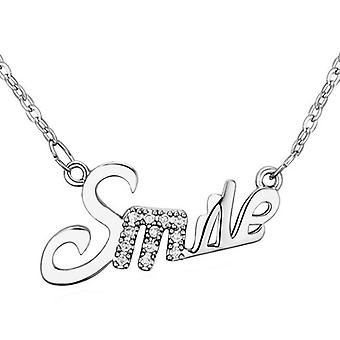 Womens Silver Girls Smile Happy Pendant Necklace