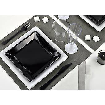 Festa dos utensílios de mesa romântico definida para 6 hóspedes 62-teilig festa festa branco preto pacote