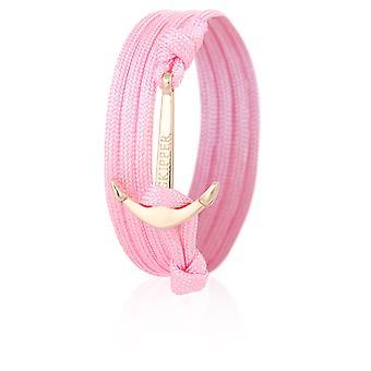 Bracciale braccialetto di skipper Ancorante in Nylon rosa con ancoraggio dorato 6994