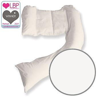 DreamGenii White Cotton Jersey Pregnancy Support and Feeding Pillow