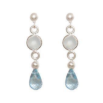 GEMSHINE Ohrringe mit Aquamarinen und weißen Onyx aus 925 Silber oder vergoldet.