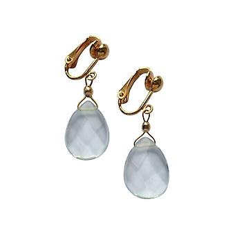 Gemshine Women's Earrings Ear Clips Gold plated Aquamarine Quartz Faceted Blue